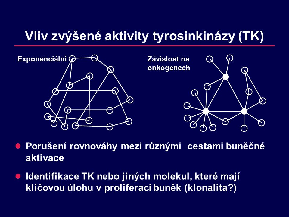 Vliv zvýšené aktivity tyrosinkinázy (TK) Porušení rovnováhy mezi různými cestami buněčné aktivace Identifikace TK nebo jiných molekul, které mají klíčovou úlohu v proliferaci buněk (klonalita?) ExponenciálníZávislost na onkogenech