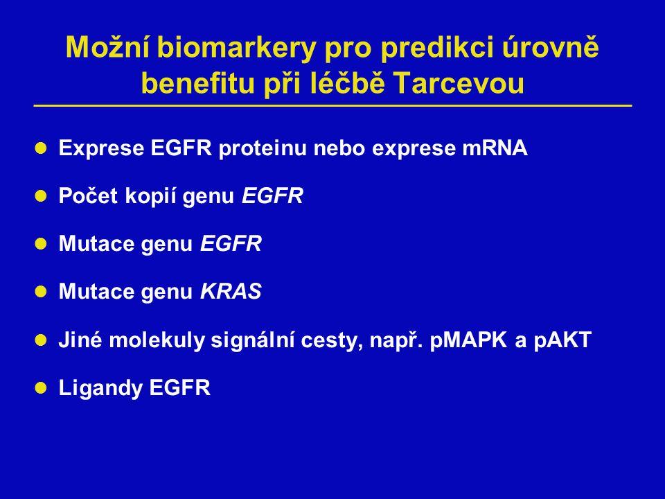 Možní biomarkery pro predikci úrovně benefitu při léčbě Tarcevou Exprese EGFR proteinu nebo exprese mRNA Počet kopií genu EGFR Mutace genu EGFR Mutace genu KRAS Jiné molekuly signální cesty, např.