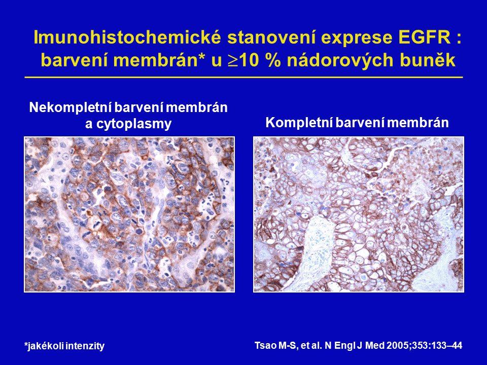 Imunohistochemické stanovení exprese EGFR : barvení membrán* u  10 % nádorových buněk Nekompletní barvení membrán a cytoplasmy Kompletní barvení membrán *jakékoli intenzity Tsao M-S, et al.