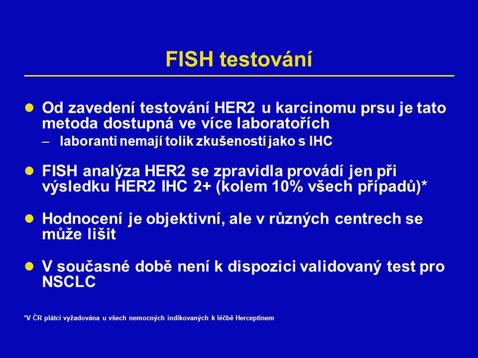 FISH testování Od zavedení testování HER2 u karcinomu prsu je tato metoda dostupná ve více laboratořích –laboranti nemají tolik zkušeností jako s IHC FISH analýza HER2 se zpravidla provádí jen při výsledku HER2 IHC 2+ (kolem 10% všech případů)* Hodnocení je objektivní, ale v různých centrech se může lišit V současné době není k dispozici validovaný test pro NSCLC *V ČR plátci vyžadována u všech nemocných indikovaných k léčbě Herceptinem