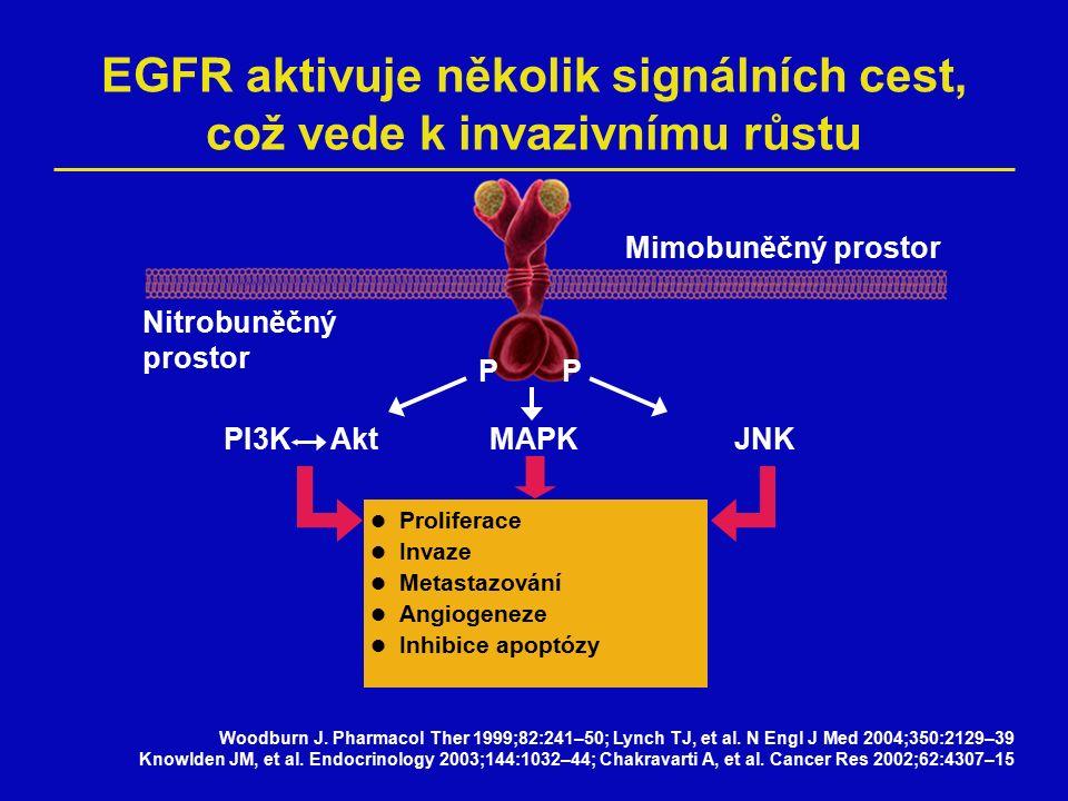 Mimobuněčný prostor Nitrobuněčný prostor Tarceva  Angiogeneze  Metastazování  Adheze  Invaze  Citlivost k chemoterapii  Proliferace  Apoptóza Tarceva zasahuje do buněčných procesů aktivovaných EGFR Etessami A, Bourhis J.