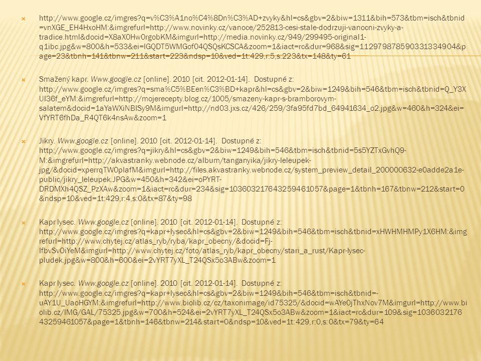  http://www.google.cz/imgres q=v%C3%A1no%C4%8Dn%C3%AD+zvyky&hl=cs&gbv=2&biw=1311&bih=573&tbm=isch&tbnid =vnXGE_EH4HxoHM:&imgrefurl=http://www.novinky.cz/vanoce/252813-cesi-stale-dodrzuji-vanocni-zvyky-a- tradice.html&docid=X8aX0Hw0rgobKM&imgurl=http://media.novinky.cz/949/299495-original1- q1ibc.jpg&w=800&h=533&ei=lGQDT5WMGof04QSQsKCSCA&zoom=1&iact=rc&dur=968&sig=112979878590331334904&p age=23&tbnh=141&tbnw=211&start=223&ndsp=10&ved=1t:429,r:5,s:223&tx=148&ty=61  Smažený kapr.