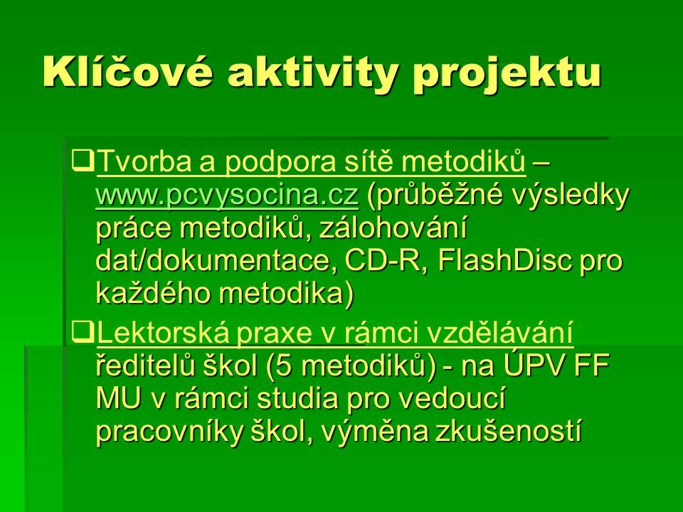 Klíčové aktivity projektu  – www.pcvysocina.cz (průběžné výsledky práce metodiků, zálohování dat/dokumentace, CD-R, FlashDisc pro každého metodika)  Tvorba a podpora sítě metodiků – www.pcvysocina.cz (průběžné výsledky práce metodiků, zálohování dat/dokumentace, CD-R, FlashDisc pro každého metodika) www.pcvysocina.cz  ředitelů škol (5 metodiků) - na ÚPV FF MU v rámci studia pro vedoucí pracovníky škol, výměna zkušeností  Lektorská praxe v rámci vzdělávání ředitelů škol (5 metodiků) - na ÚPV FF MU v rámci studia pro vedoucí pracovníky škol, výměna zkušeností