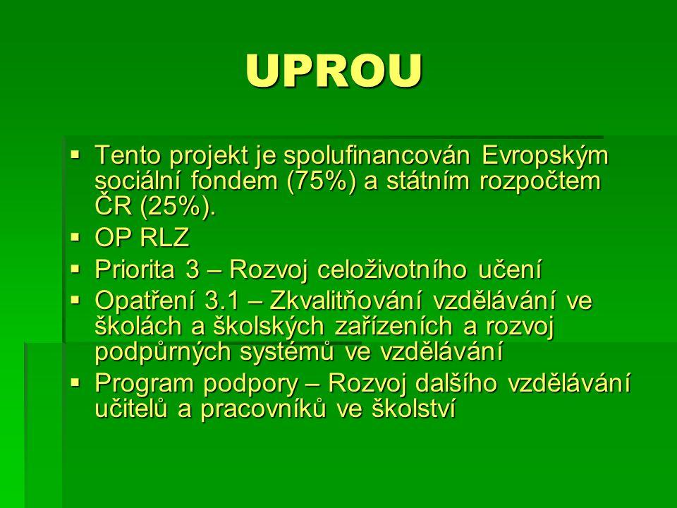 UPROU  Tento projekt je spolufinancován Evropským sociální fondem (75%) a státním rozpočtem ČR (25%).