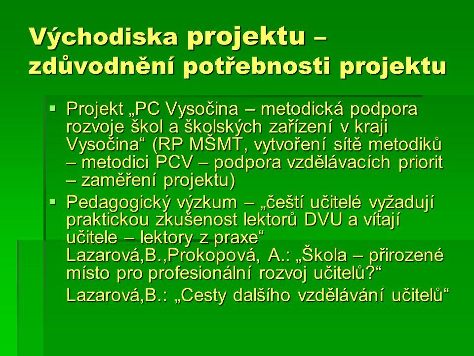 """Východiska projektu – zdůvodnění potřebnosti projektu  Projekt """"PC Vysočina – metodická podpora rozvoje škol a školských zařízení v kraji Vysočina (RP MŠMT, vytvoření sítě metodiků – metodici PCV – podpora vzdělávacích priorit – zaměření projektu)  Pedagogický výzkum – """"čeští učitelé vyžadují praktickou zkušenost lektorů DVU a vítají učitele – lektory z praxe Lazarová,B.,Prokopová, A.: """"Škola – přirozené místo pro profesionální rozvoj učitelů Lazarová,B.: """"Cesty dalšího vzdělávání učitelů"""