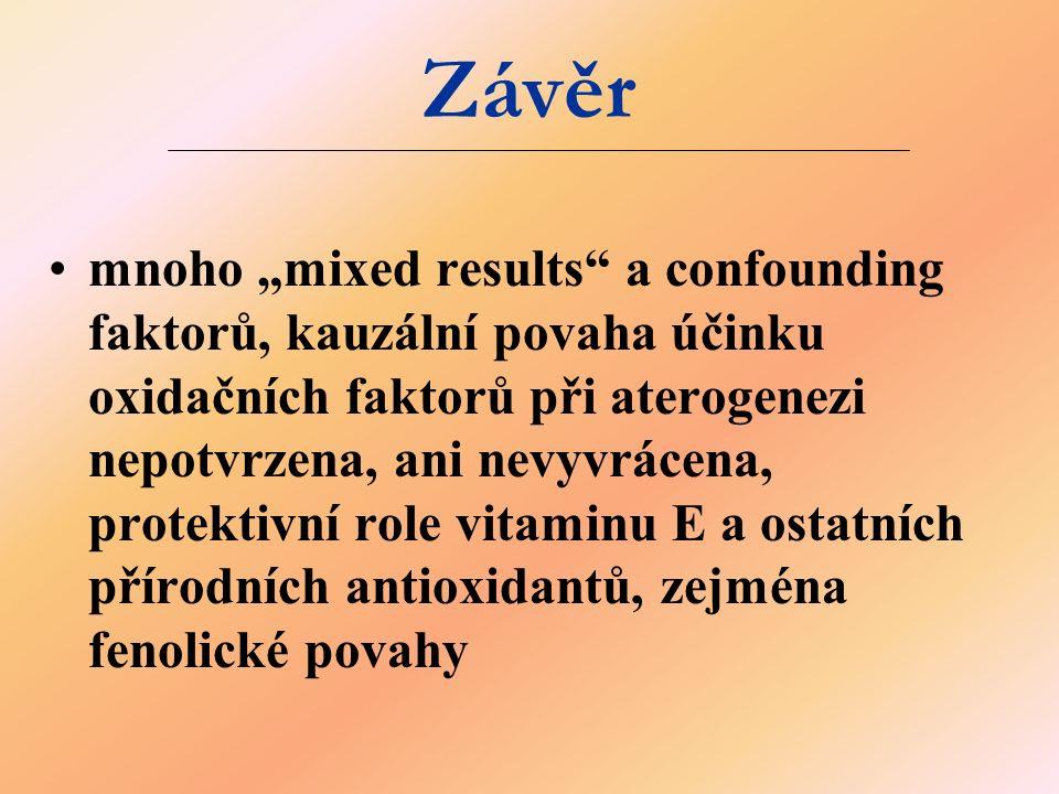 """Závěr mnoho """"mixed results"""" a confounding faktorů, kauzální povaha účinku oxidačních faktorů při aterogenezi nepotvrzena, ani nevyvrácena, protektivní"""