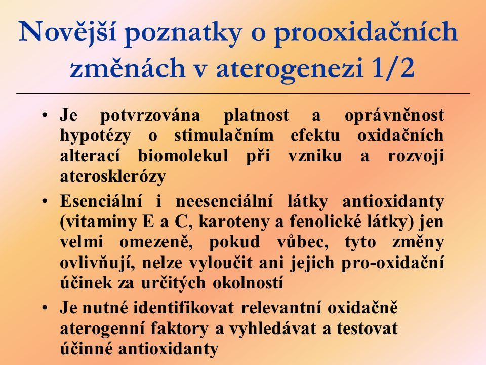 Je potvrzována platnost a oprávněnost hypotézy o stimulačním efektu oxidačních alterací biomolekul při vzniku a rozvoji aterosklerózy Esenciální i neesenciální látky antioxidanty (vitaminy E a C, karoteny a fenolické látky) jen velmi omezeně, pokud vůbec, tyto změny ovlivňují, nelze vyloučit ani jejich pro-oxidační účinek za určitých okolností Je nutné identifikovat relevantní oxidačně aterogenní faktory a vyhledávat a testovat účinné antioxidanty Novější poznatky o prooxidačních změnách v aterogenezi 1/2