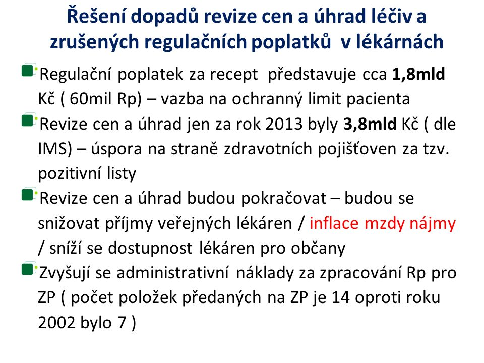 Řešení dopadů revize cen a úhrad léčiv a zrušených regulačních poplatků v lékárnách Regulační poplatek za recept představuje cca 1,8mld Kč ( 60mil Rp)