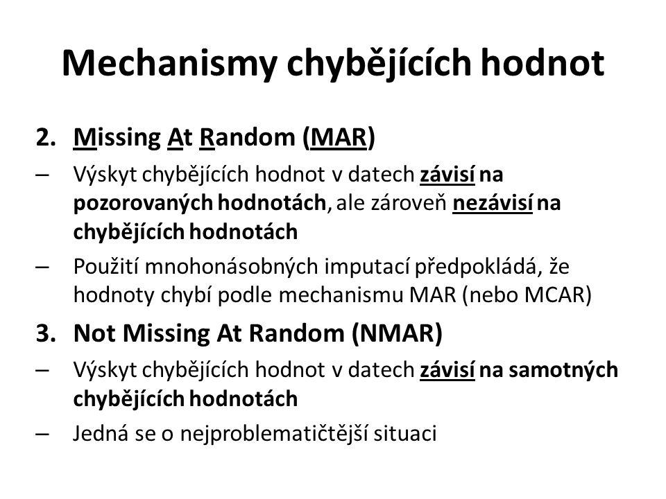 Mechanismy chybějících hodnot 2.Missing At Random (MAR) – Výskyt chybějících hodnot v datech závisí na pozorovaných hodnotách, ale zároveň nezávisí na chybějících hodnotách – Použití mnohonásobných imputací předpokládá, že hodnoty chybí podle mechanismu MAR (nebo MCAR) 3.Not Missing At Random (NMAR) – Výskyt chybějících hodnot v datech závisí na samotných chybějících hodnotách – Jedná se o nejproblematičtější situaci