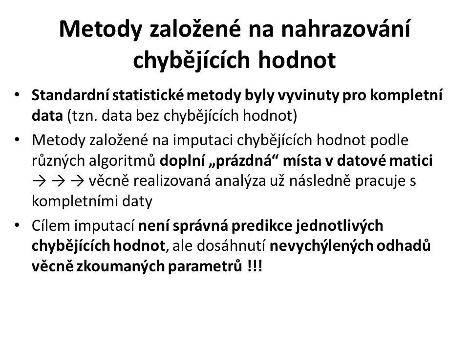 Metody založené na nahrazování chybějících hodnot Standardní statistické metody byly vyvinuty pro kompletní data (tzn. data bez chybějících hodnot) Me
