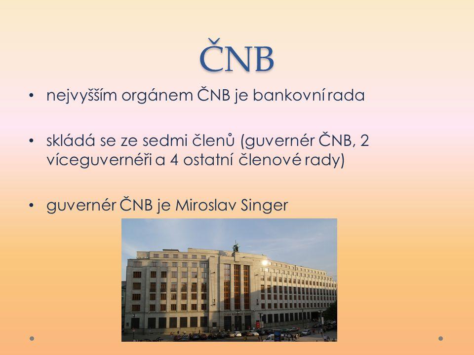 ČNB nejvyšším orgánem ČNB je bankovní rada skládá se ze sedmi členů (guvernér ČNB, 2 víceguvernéři a 4 ostatní členové rady) guvernér ČNB je Miroslav Singer