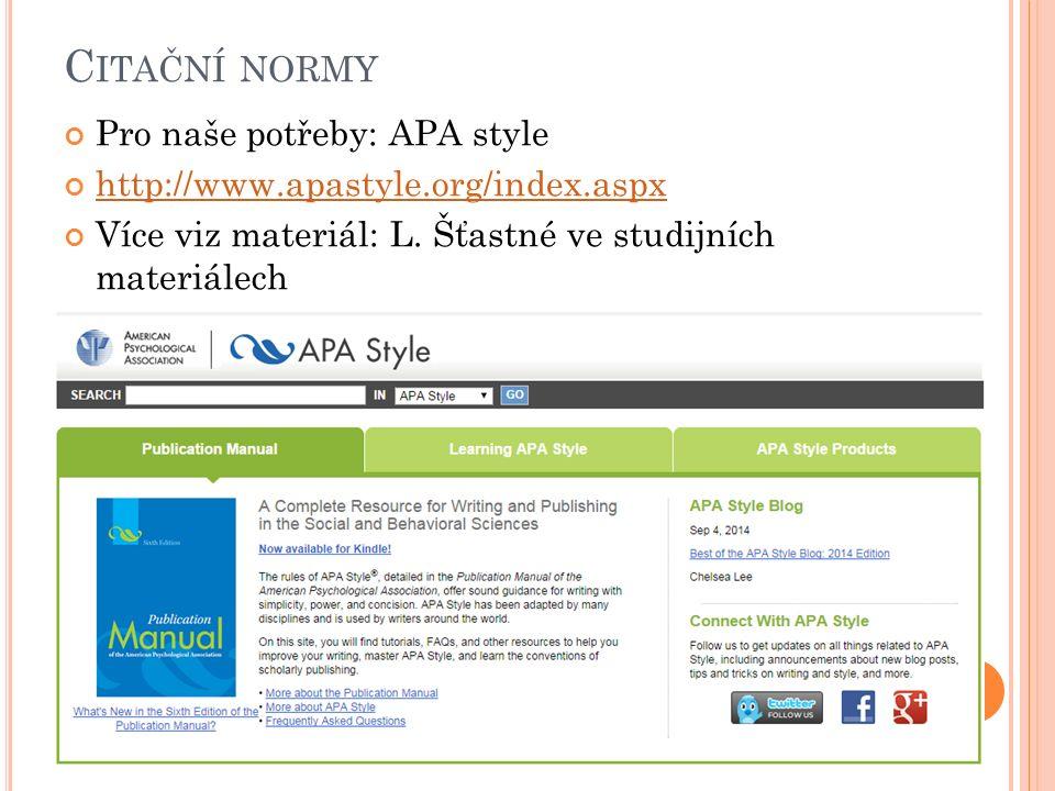 C ITAČNÍ NORMY Pro naše potřeby: APA style http://www.apastyle.org/index.aspx Více viz materiál: L.