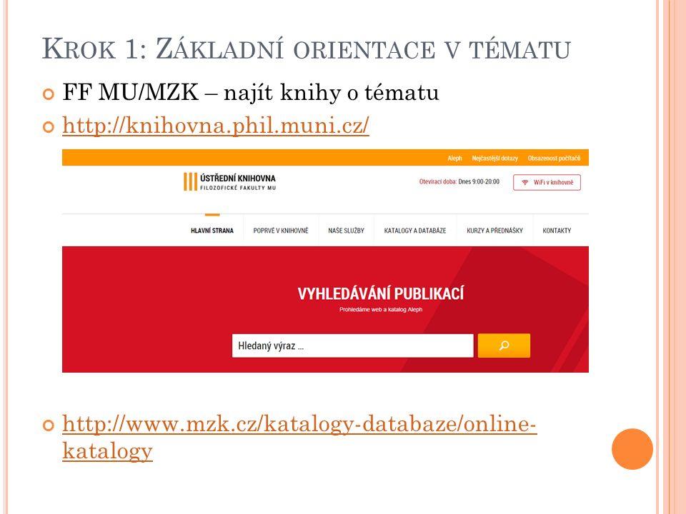 K ROK 1: Z ÁKLADNÍ ORIENTACE V TÉMATU FF MU/MZK – najít knihy o tématu http://knihovna.phil.muni.cz/ http://www.mzk.cz/katalogy-databaze/online- katalogy