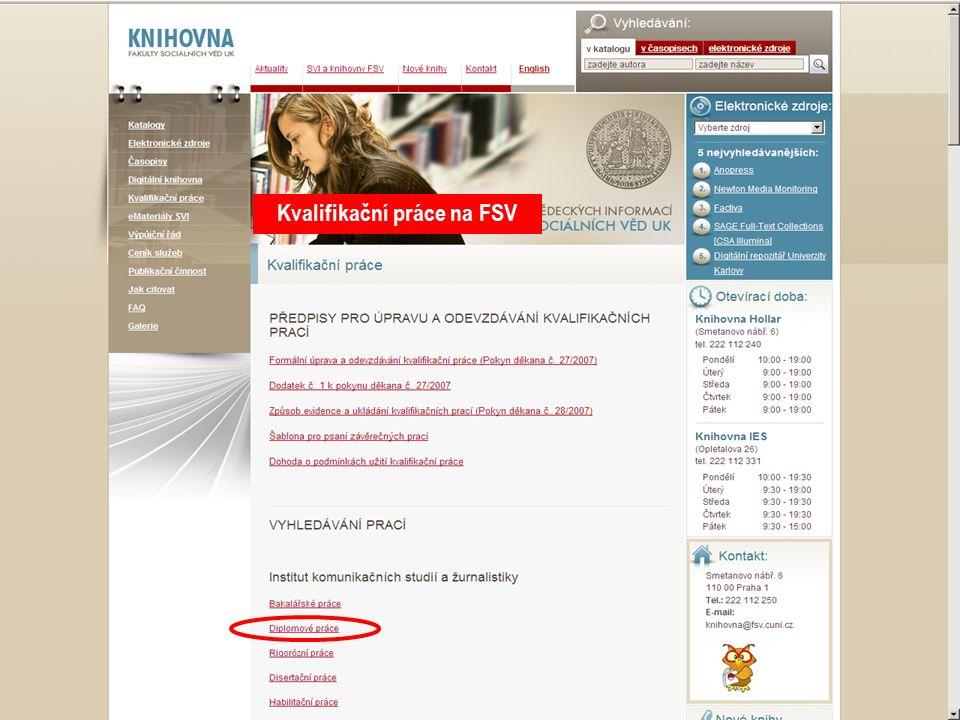 14SVI FSV UK 2010 Kvalifikační práce na FSV