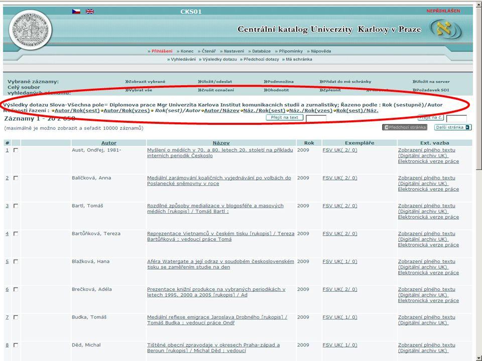 15SVI FSV UK 2010 Vyhledávání v databázích – příklady