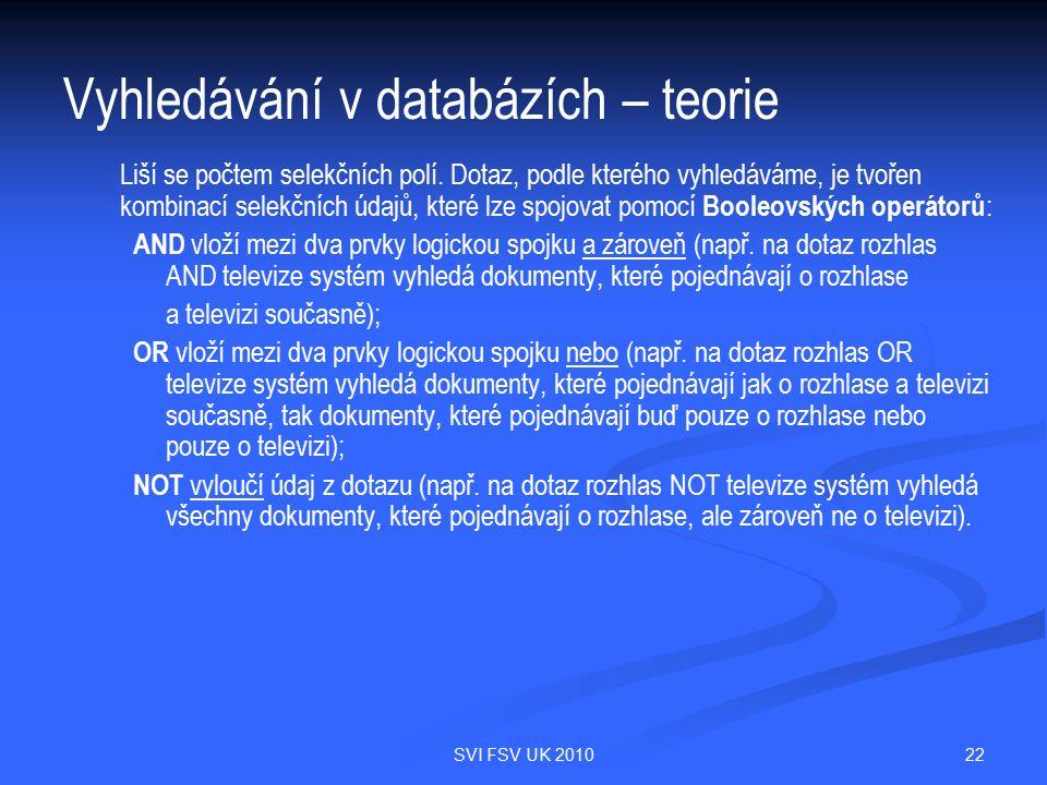 22SVI FSV UK 2010 Vyhledávání v databázích – teorie Liší se počtem selekčních polí. Dotaz, podle kterého vyhledáváme, je tvořen kombinací selekčních ú