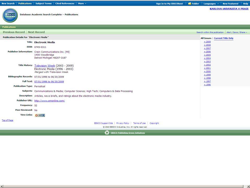 29SVI FSV UK 2010 Vyhledávání v databázích – příklady