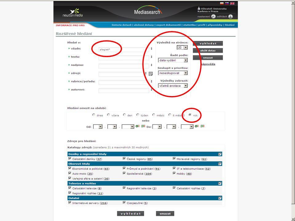 33SVI FSV UK 2010 Vyhledávání v databázích – příklady