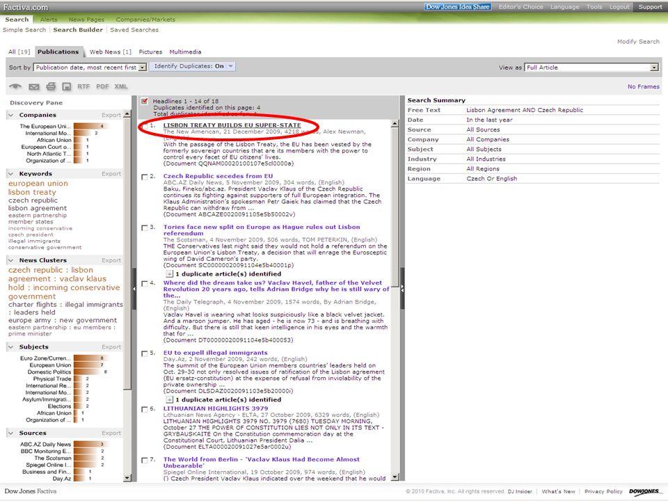 40SVI FSV UK 2010 Vyhledávání v databázích – příklady