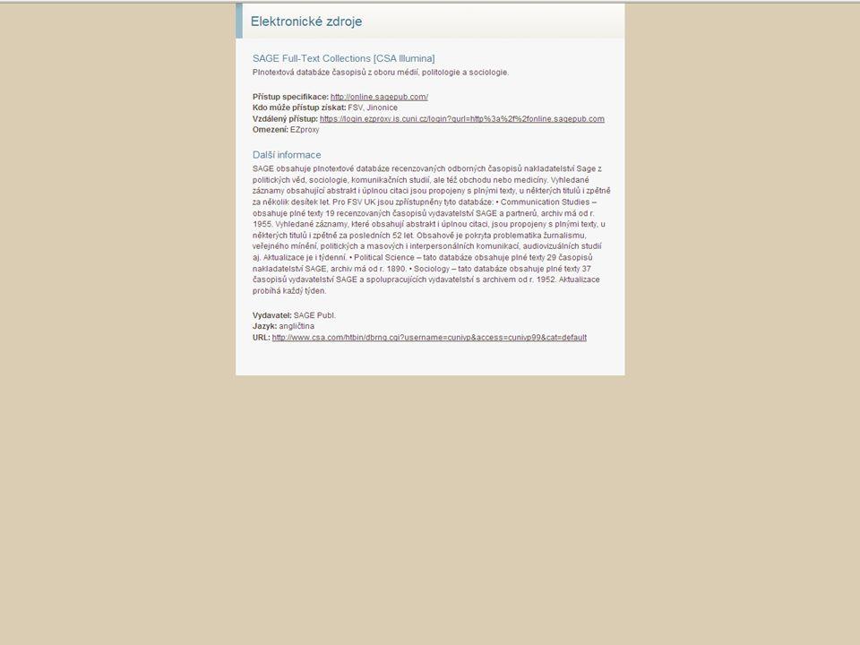 44SVI FSV UK 2010 Vyhledávání v databázích – příklady