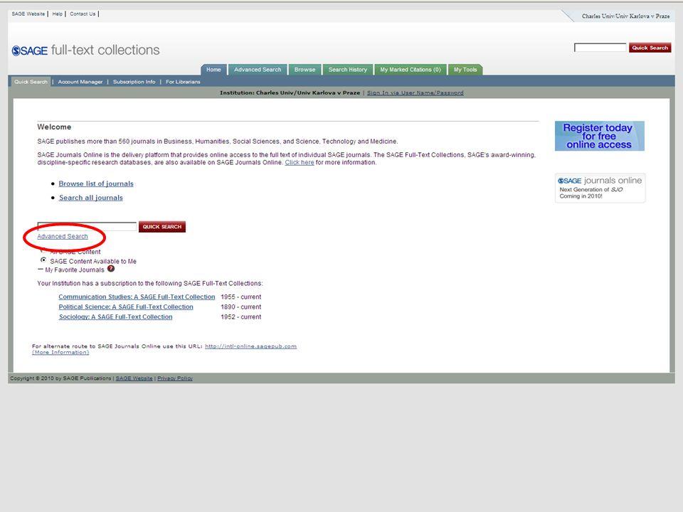 45SVI FSV UK 2010 Vyhledávání v databázích – příklady