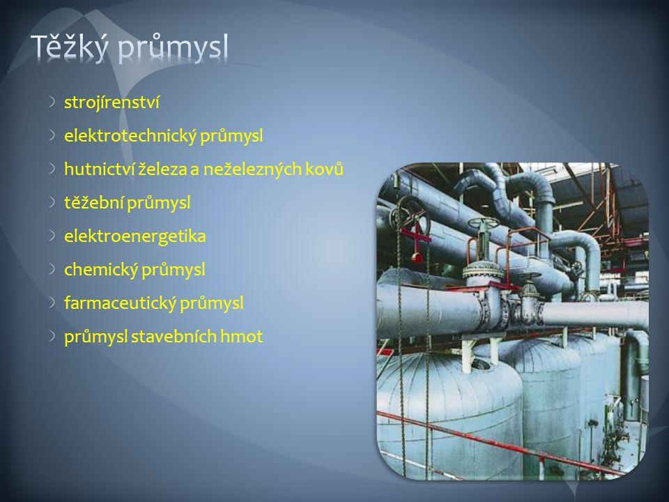 strojírenství elektrotechnický průmysl hutnictví železa a neželezných kovů těžební průmysl elektroenergetika chemický průmysl farmaceutický průmysl průmysl stavebních hmot