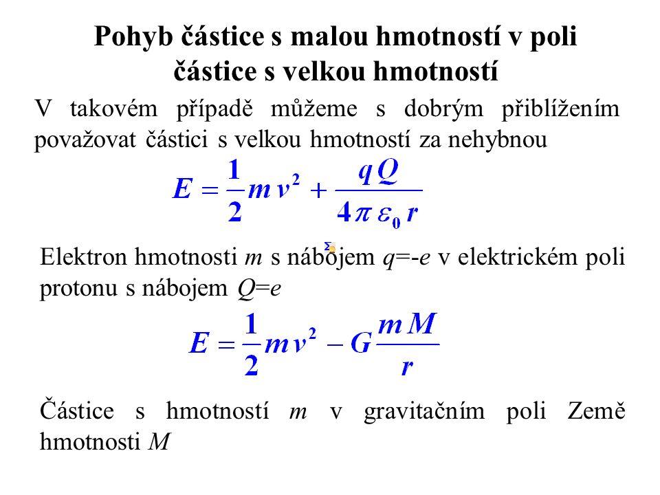 Pohyb částice s malou hmotností v poli částice s velkou hmotností V takovém případě můžeme s dobrým přiblížením považovat částici s velkou hmotností za nehybnou Elektron hmotnosti m s nábojem q=-e v elektrickém poli protonu s nábojem Q=e Částice s hmotností m v gravitačním poli Země hmotnosti M