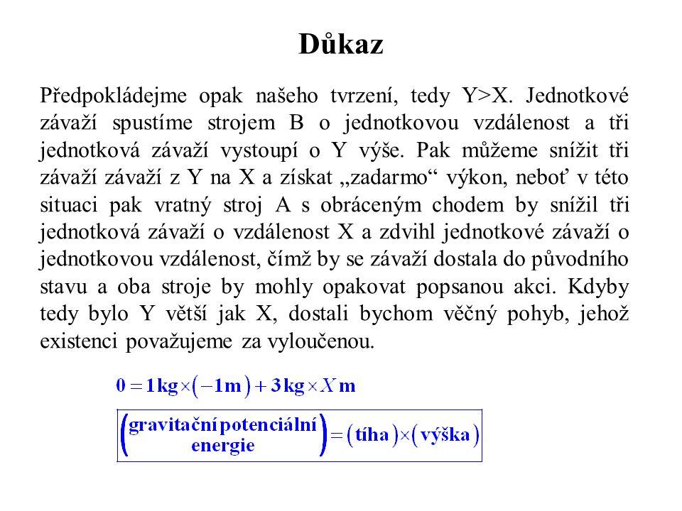 Důkaz Předpokládejme opak našeho tvrzení, tedy Y>X. Jednotkové závaží spustíme strojem B o jednotkovou vzdálenost a tři jednotková závaží vystoupí o Y