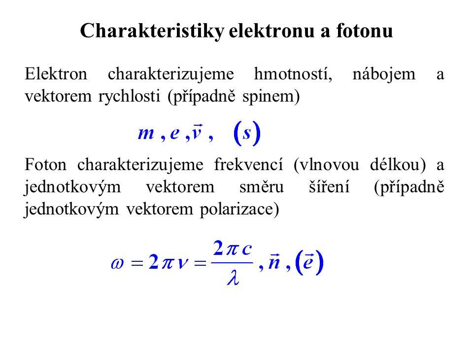 Charakteristiky elektronu a fotonu Elektron charakterizujeme hmotností, nábojem a vektorem rychlosti (případně spinem) Foton charakterizujeme frekvencí (vlnovou délkou) a jednotkovým vektorem směru šíření (případně jednotkovým vektorem polarizace)