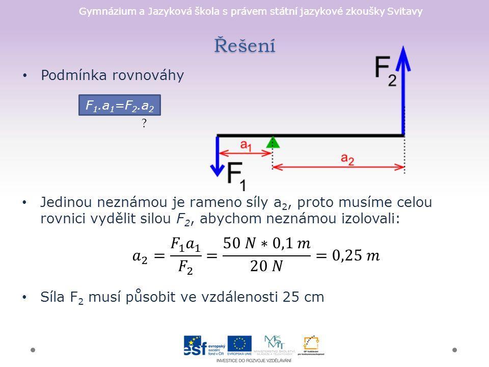 Gymnázium a Jazyková škola s právem státní jazykové zkoušky Svitavy Řešení Podmínka rovnováhy [1] F 1.a 1 =F 2.a 2 .