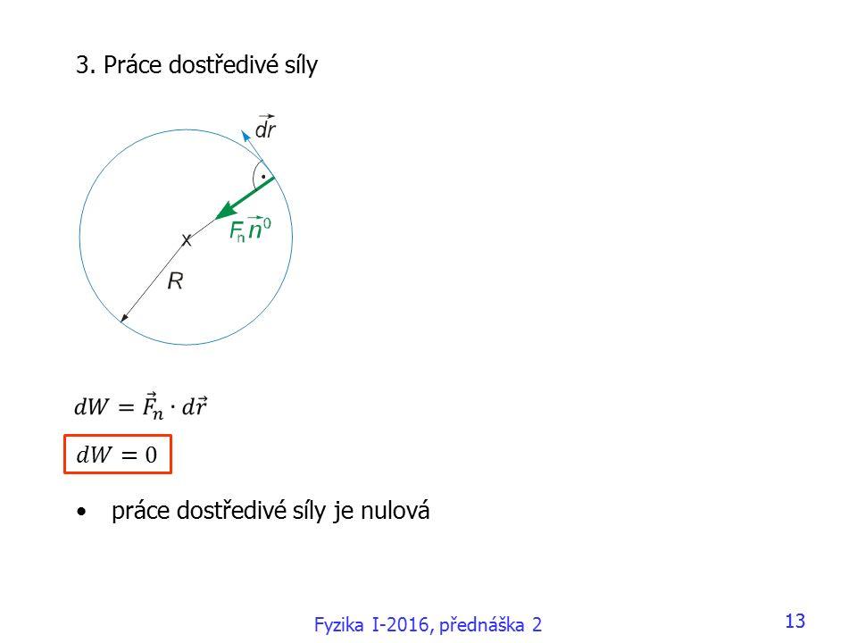 Fyzika I-2016, přednáška 2 13 3. Práce dostředivé síly práce dostředivé síly je nulová