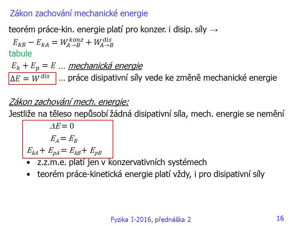 Fyzika I-2016, přednáška 2 16 Zákon zachování mechanické energie teorém práce-kin.