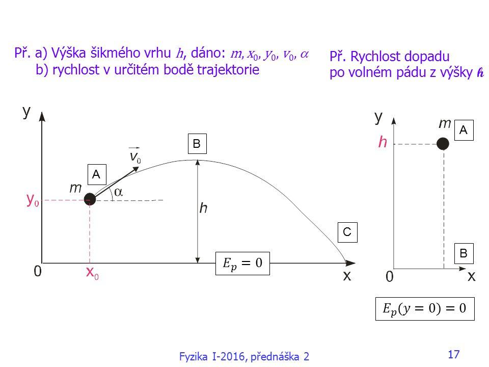 Fyzika I-2016, přednáška 2 17 Př.