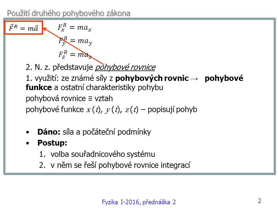 Fyzika I-2016, přednáška 2 Použití druhého pohybového zákona 2.