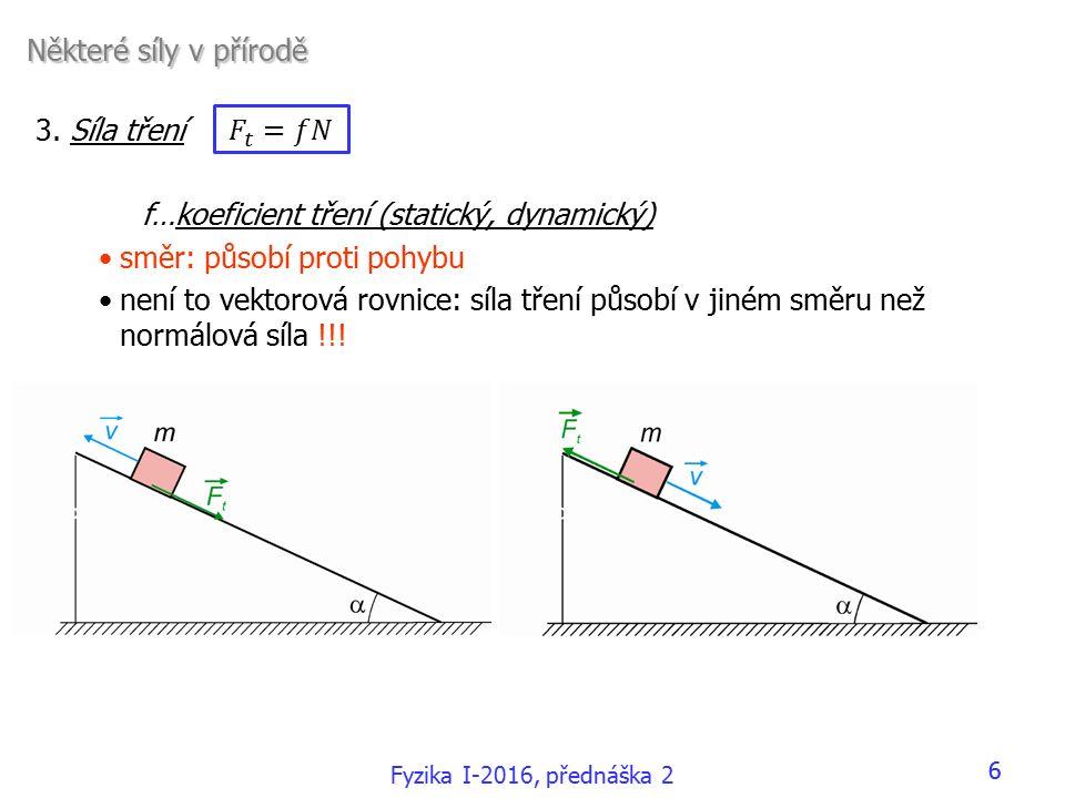 3. Síla tření f…koeficient tření (statický, dynamický) směr: působí proti pohybu není to vektorová rovnice: síla tření působí v jiném směru než normál