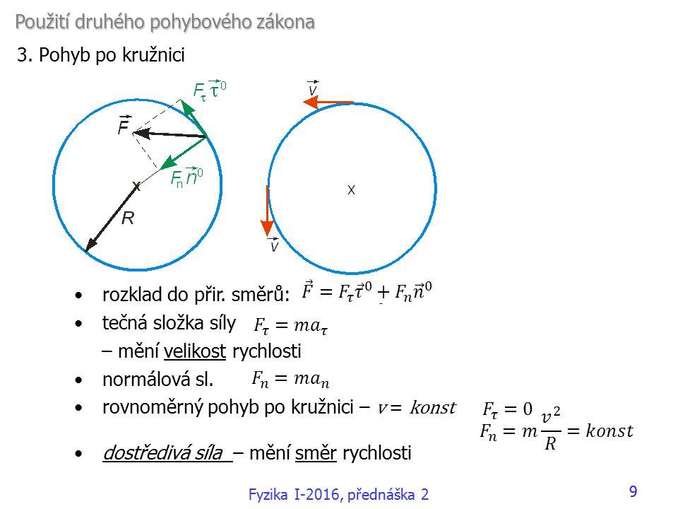 rozklad do přir. směrů: tečná složka síly – mění velikost rychlosti normálová sl.