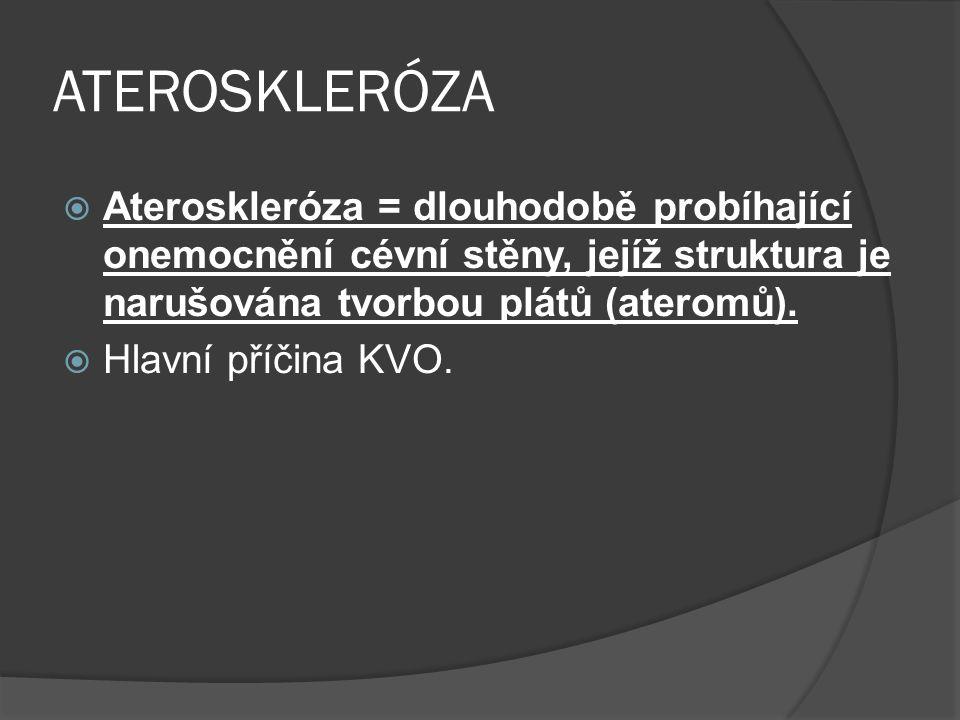 ATEROSKLERÓZA  Ateroskleróza = dlouhodobě probíhající onemocnění cévní stěny, jejíž struktura je narušována tvorbou plátů (ateromů).