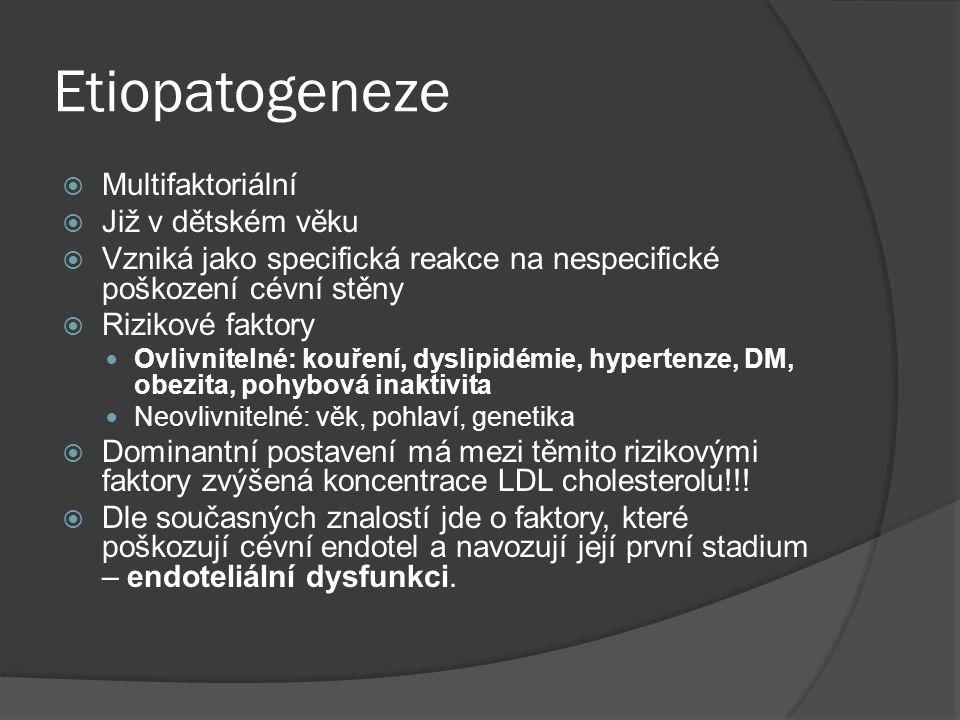 Etiopatogeneze  Multifaktoriální  Již v dětském věku  Vzniká jako specifická reakce na nespecifické poškození cévní stěny  Rizikové faktory Ovlivnitelné: kouření, dyslipidémie, hypertenze, DM, obezita, pohybová inaktivita Neovlivnitelné: věk, pohlaví, genetika  Dominantní postavení má mezi těmito rizikovými faktory zvýšená koncentrace LDL cholesterolu!!.