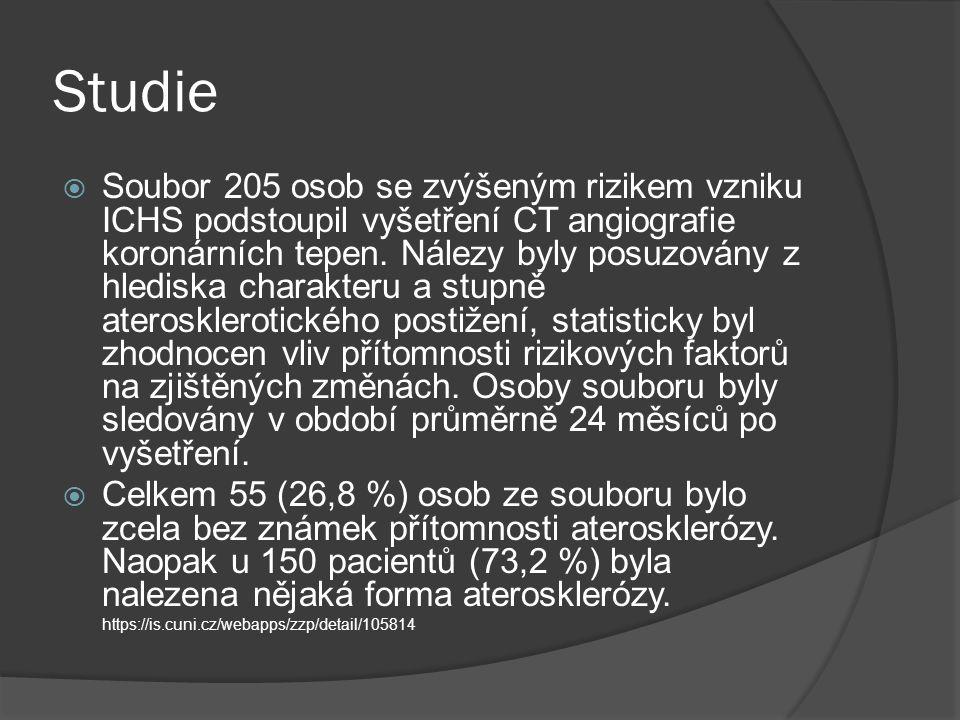 Studie  Soubor 205 osob se zvýšeným rizikem vzniku ICHS podstoupil vyšetření CT angiografie koronárních tepen.
