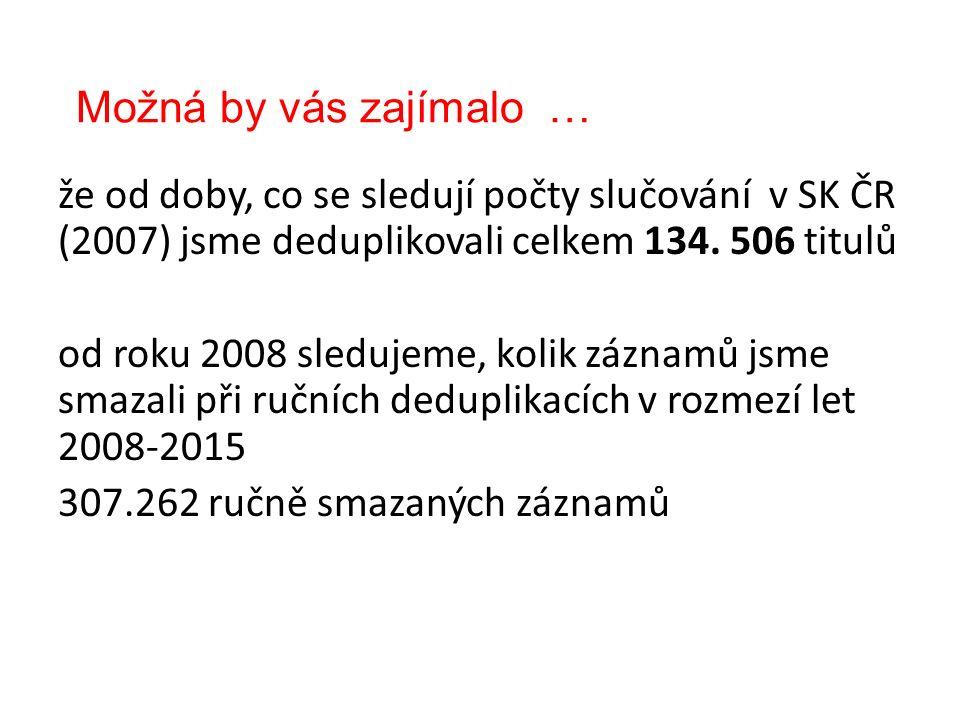 Možná by vás zajímalo … že od doby, co se sledují počty slučování v SK ČR (2007) jsme deduplikovali celkem 134.