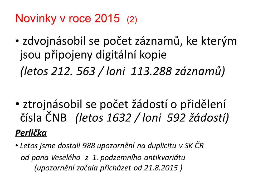 Novinky v roce 2015 (2) zdvojnásobil se počet záznamů, ke kterým jsou připojeny digitální kopie (letos 212.