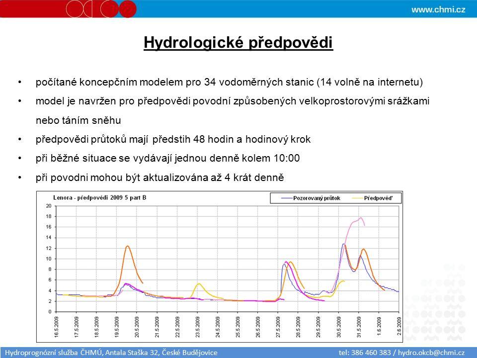 Hydrologické předpovědi počítané koncepčním modelem pro 34 vodoměrných stanic (14 volně na internetu) model je navržen pro předpovědi povodní způsobených velkoprostorovými srážkami nebo táním sněhu předpovědi průtoků mají předstih 48 hodin a hodinový krok při běžné situace se vydávají jednou denně kolem 10:00 při povodni mohou být aktualizována až 4 krát denně