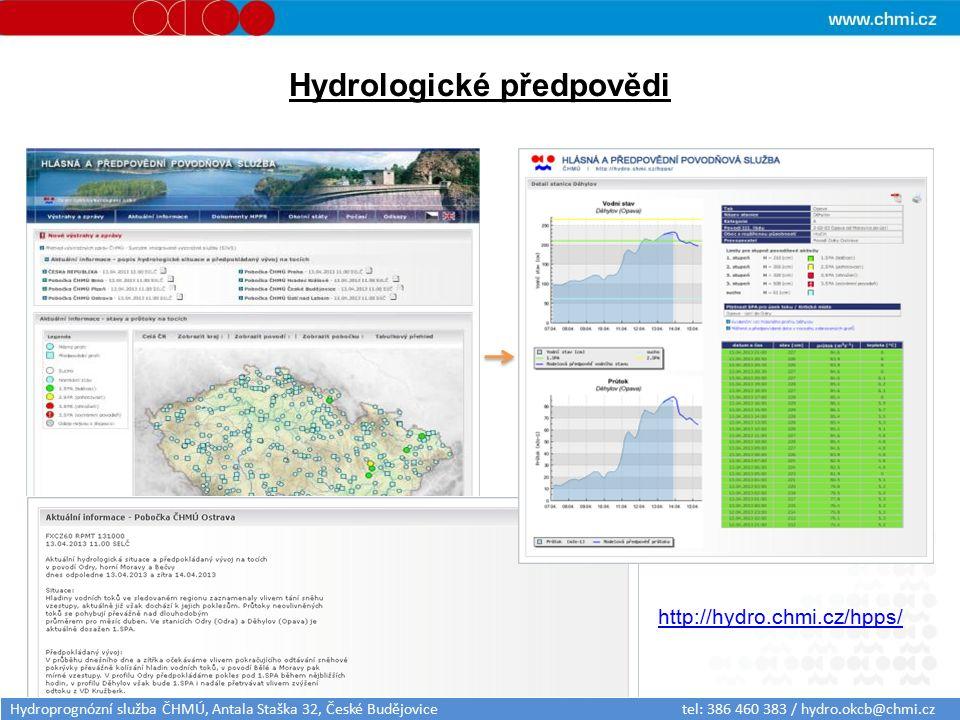 Hydrologické předpovědi http://hydro.chmi.cz/hpps/ Hydroprognózní služba ČHMÚ, Antala Staška 32, České Budějovice tel: 386 460 383 / hydro.okcb@chmi.cz