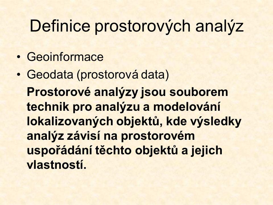 Definice prostorových analýz Geoinformace Geodata (prostorová data) Prostorové analýzy jsou souborem technik pro analýzu a modelování lokalizovaných objektů, kde výsledky analýz závisí na prostorovém uspořádání těchto objektů a jejich vlastností.