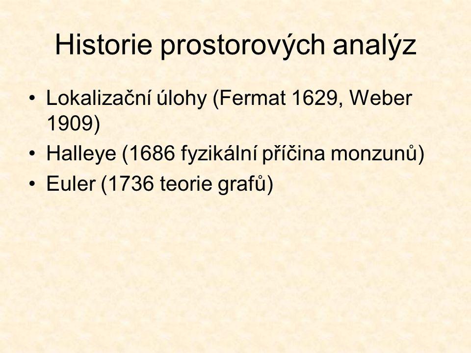 Historie prostorových analýz Lokalizační úlohy (Fermat 1629, Weber 1909) Halleye (1686 fyzikální příčina monzunů) Euler (1736 teorie grafů)