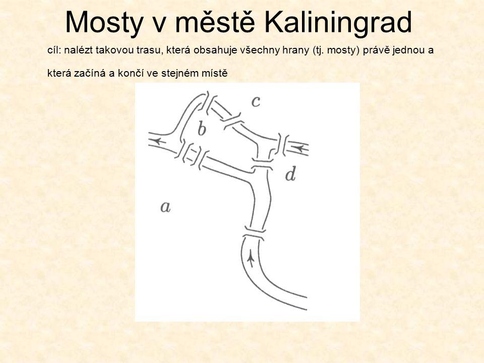 Mosty v městě Kaliningrad cíl: nalézt takovou trasu, která obsahuje všechny hrany (tj.