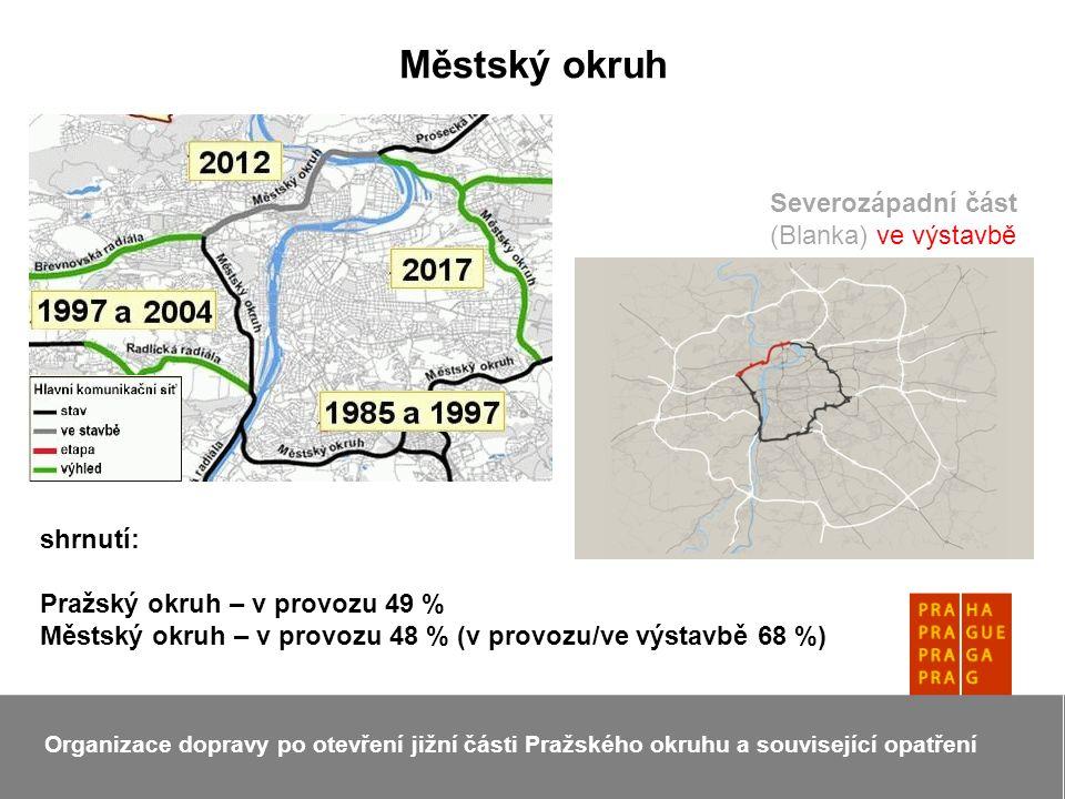 Městský okruh Organizace dopravy po otevření jižní části Pražského okruhu a související opatření Severozápadní část (Blanka) ve výstavbě shrnutí: Pražský okruh – v provozu 49 % Městský okruh – v provozu 48 % (v provozu/ve výstavbě 68 %)