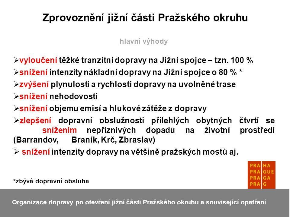 Zprovoznění jižní části Pražského okruhu Organizace dopravy po otevření jižní části Pražského okruhu a související opatření hlavní výhody  vyloučení těžké tranzitní dopravy na Jižní spojce – tzn.