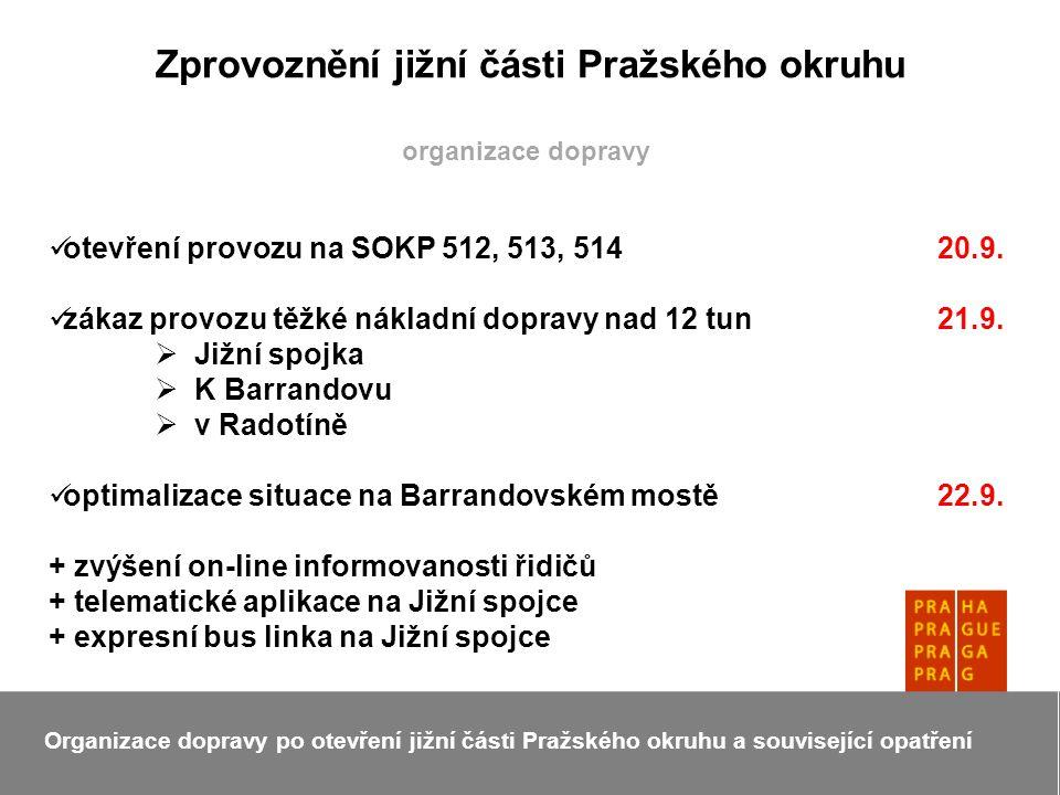 Zprovoznění jižní části Pražského okruhu Organizace dopravy po otevření jižní části Pražského okruhu a související opatření organizace dopravy otevření provozu na SOKP 512, 513, 514 20.9.