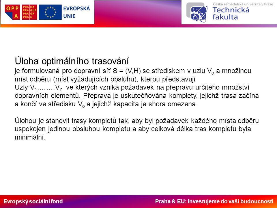 Evropský sociální fond Praha & EU: Investujeme do vaší budoucnosti Úloha optimálního trasování je formulovaná pro dopravní síť S = (V,H) se střediskem v uzlu V o a množinou míst odběru (míst vyžadujících obsluhu), kterou představují Uzly V 1,…….V n ve kterých vzniká požadavek na přepravu určitého množství dopravních elementů.